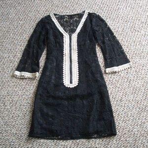 Nanette Lepore black lace shift dress 2 XS